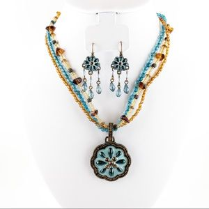 Avon Multi-Strand Pendant Necklace and Earring Set